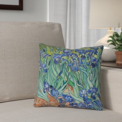 Morley Irises 100% Cotton Throw Pillow Size: 18 x 18, Color: Green/Purple