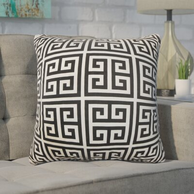 Dufault Greek Key Cotton Throw Pillow Cover Color: Black White