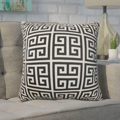 Dufault Greek Key Cotton Throw Pillow Cover Color: Black White
