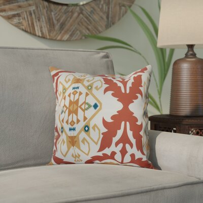 Meetinghouse Bombay Medallion Geometric Print Throw Pillow Size: 16 H x 16 W, Color: Coral