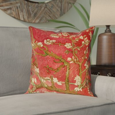 Lei Almond Blossom Outdoor Throw Pillow Color: Red, Size: 18 x 18