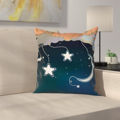 Cartoon Style Night Sky Square Pillow Cover Size: 18 x 18