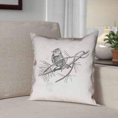 Venezia Vintage Bird Outdoor Throw Pillow Size: 16 x 16
