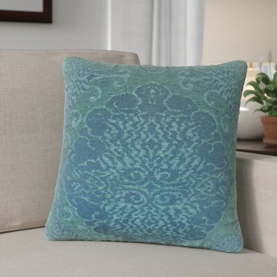 Calypso Damask Down Filled Throw Pillow Size: 22 x 22, Color: Azure