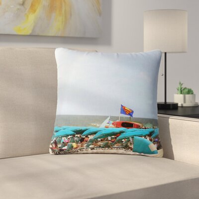 Angie Turner Superman at the Beach Outdoor Throw Pillow Size: 16 H x 16 W x 5 D