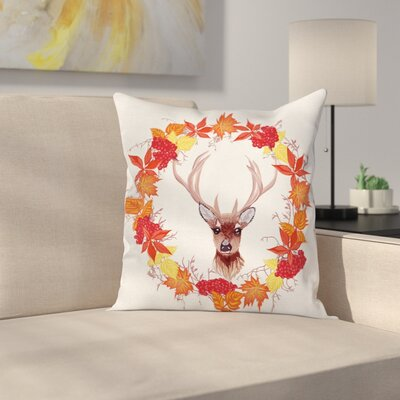 Deer Autumn Leaves Wreath Art Square Pillow Cover Size: 20 x 20