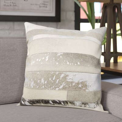 Russet Leather Throw Pillow Color: White/Gray