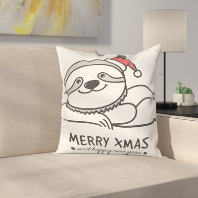 Sloth Cute Sloth Christmas Hat Square Pillow Cover Size: 24 x 24