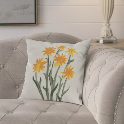 Kaylor Daffodils Indoor/Outdoor Throw Pillow Color: Yellow, Size: 18 x 18