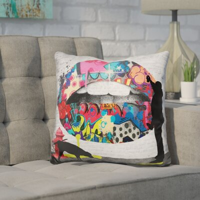 Kanter Lips Street Art Throw Pillow