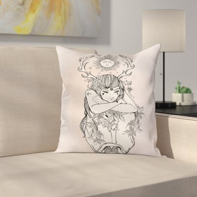 Occult Girl under Sun Square Pillow Cover Size: 24 x 24