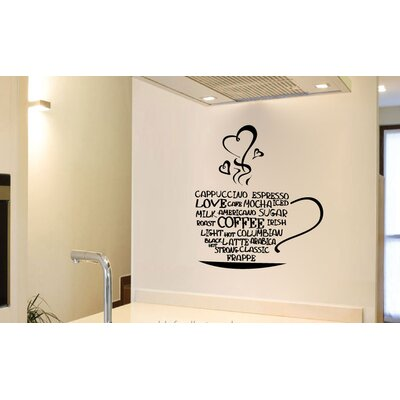 Linden Coffee Cup Vinyl Words Wall Decal A55952D24785402FAA382581013EE341