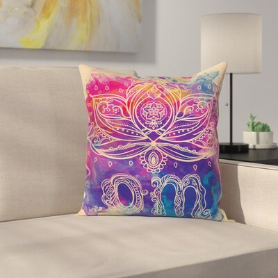 Yoga Boho Lotus Flower Indian Square Pillow Cover Size: 24 x 24