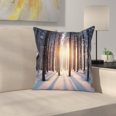 Forest Sunset at Wintertime Square Pillow Cover Size: 18 x 18