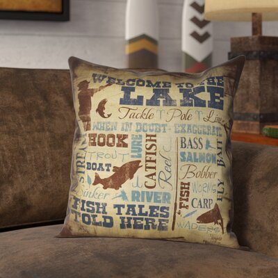Braylen Welcome to the Lake Outdoor Throw Pillow Size: 20 x 20