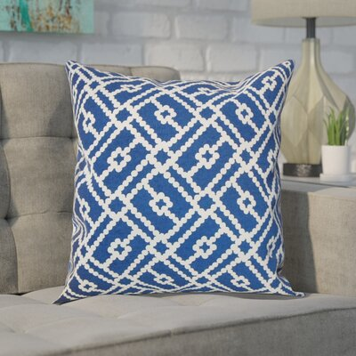 Ellefson Cotton Throw Pillow Color: Blue, Size: 18x18