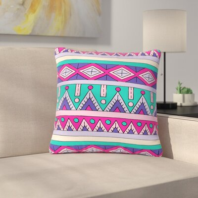 Sarah Oelerich Teal Tribal Outdoor Throw Pillow Size: 16 H x 16 W x 5 D