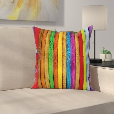 Wooden Artistic Square Pillow Cover Size: 18
