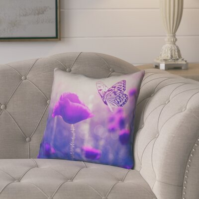 Mariani Country Butterfly and Rose Throw Pillow Color: Purple, Size: 16 H x 16 W