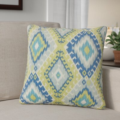 Karolyne Ikat Cotton Throw Pillow Color: Aegean