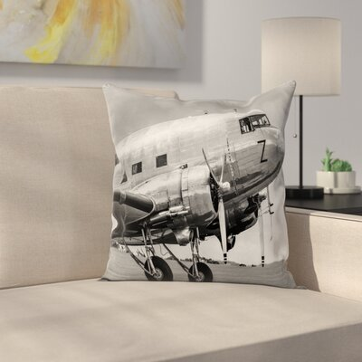 Vintage Airplane Old Airliner Square Pillow Cover Size: 24 x 24
