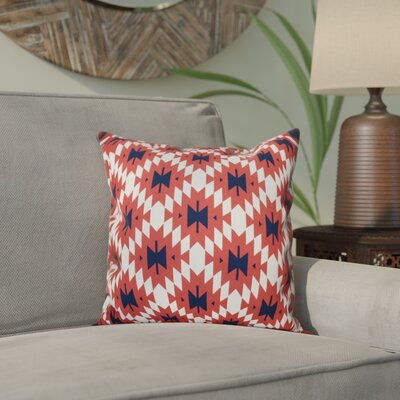 Willa Jodhpur Kilim 2 Geometric Print Throw Pillow Size: 26 H x 26 W, Color: Coral