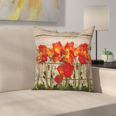 Rustic Blooming Poppy Flowers Square Pillow Cover Size: 18 x 18