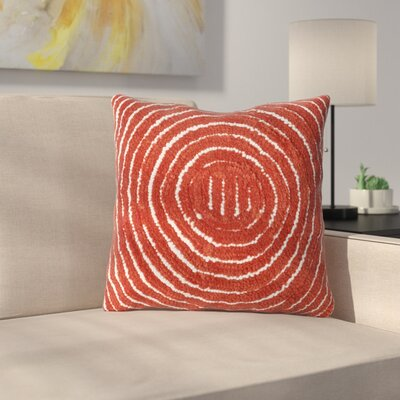 Mack Geometric Circle Throw Pillow Color: Red Orange