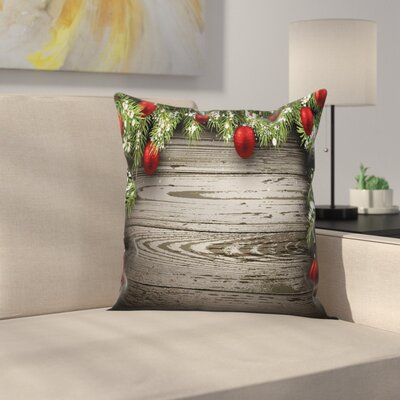 Christmas Balls Fir Branch Square Pillow Cover Size: 18 x 18