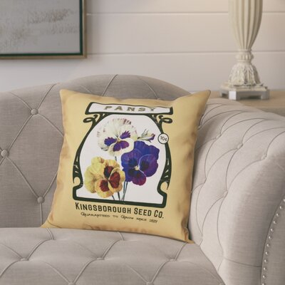 Pilla Pansy Floral Print Throw Pillow Size: 18 H x 18 W, Color: Gold