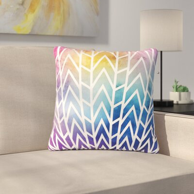 Matt Eklund Shattering Abstract Outdoor Throw Pillow Size: 18 H x 18 W x 5 D, Color: Purple/Yellow
