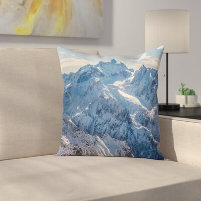 Nature Snowy Alps Mountain Square Pillow Cover Size: 16 x 16