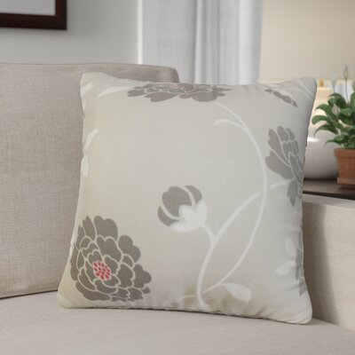 Ashton Ridge Floral Cotton Throw Pillow Color: Dove, Size: 18 x 18