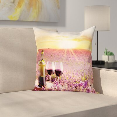 Wine Blooming Lavender Picnic Square Pillow Cover Size: 16 x 16
