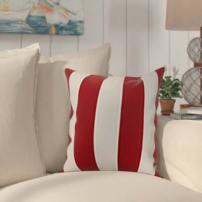 Harriet Rugby Stripe Throw Pillow Color: Red, Size: 26 x 26