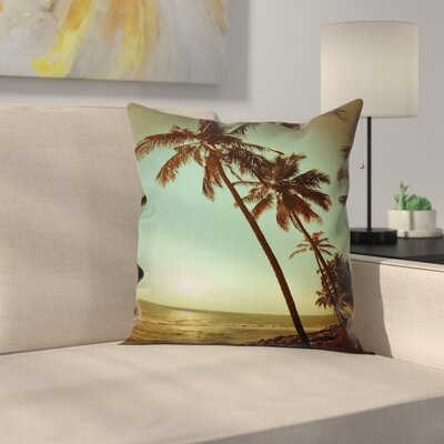 Tropical Sunset Pacific Dusk Square Pillow Cover Size: 18