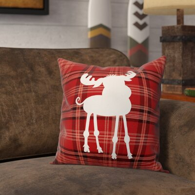 Fusain Plaid Baby Moose Throw Pillow Type: Pillow Cover