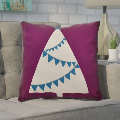 Christmas Tree Outdoor Throw Pillow Size: 16 H x 16 W, Color: Purple