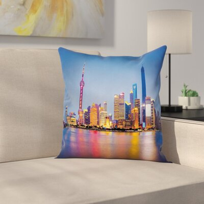 Shanghai City Skyline Square Pillow Cover Size: 18