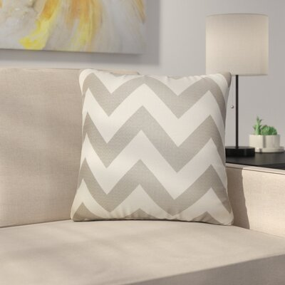 Strawn Chevron Cotton Throw Pillow Color: Gray