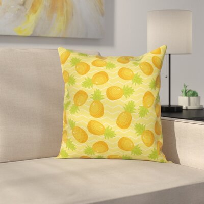 Chevron Exotic Pineapple Square Cushion Pillow Cover Size: 16 x 16