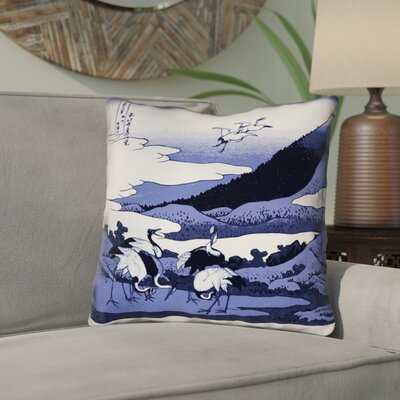 Montreal Japanese Cranes Linen Throw Pillow Size: 16 x 16 , Pillow Cover Color: Blue