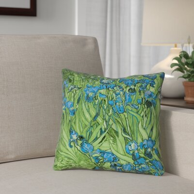 Morley Irises Square 100% Cotton Pillow Cover Color: Green/Blue, Size: 16 x 16