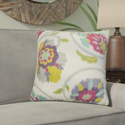 Willem Floral Cotton Throw Pillow Color: Red/Green