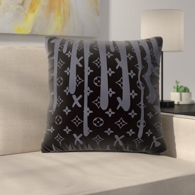 LX Drip Throw Pillow Size: 26 H x 26 W x 7 D, Color: Black