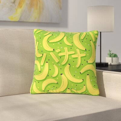 Strawberringo Banana Pattern Abstract Food Outdoor Throw Pillow Size: 16 H x 16 W x 5 D