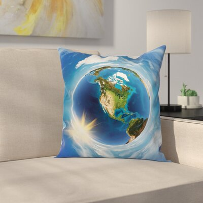 America Landscape Space Square Pillow Cover Size: 18 x 18