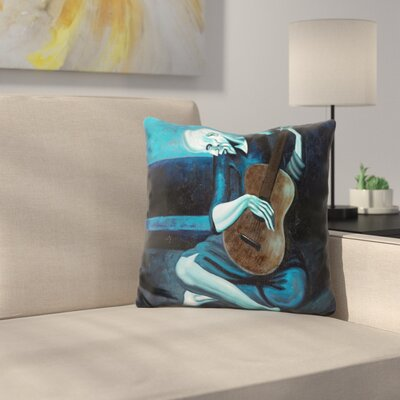 The Old Guitarist Throw Pillow
