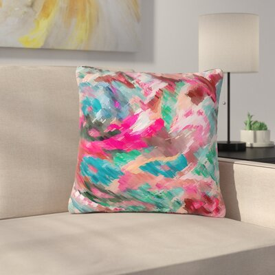 Alison Coxon Giverny Abstract Outdoor Throw Pillow Color: Pink, Size: 18 H x 18 W x 5 D