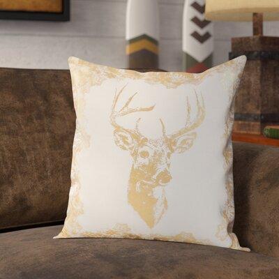 Metallic Foil Reindeer Design Decorative Cotton Throw Pillow